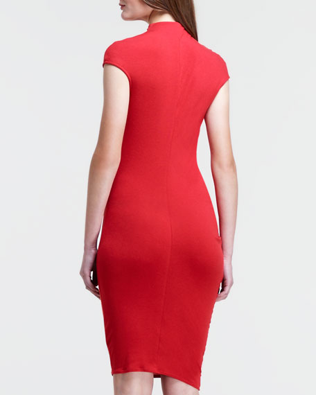 Draped Fitted Cap-Sleeve Dress