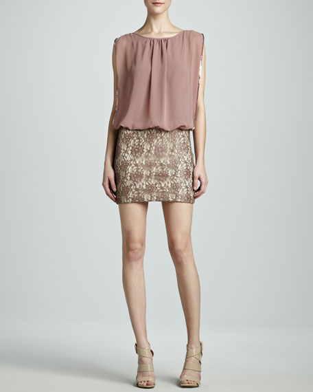 Lace Blouson Dress