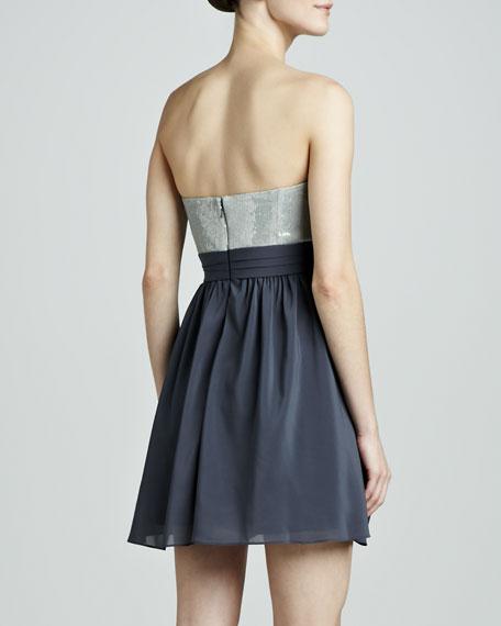 Strapless Beaded Chiffon Dress
