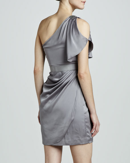 One-Shoulder Satin Neckline