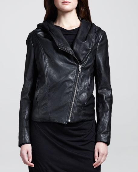 Hooded Leather Zip Jacket