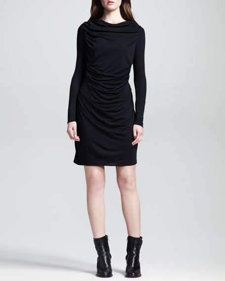 Kinetic Draped-Front Long-Sleeve Dress