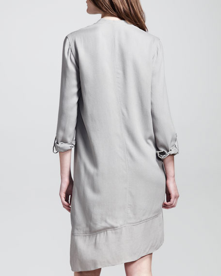 Angled Tab-Sleeve Shirtdress