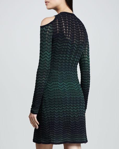 Long-Sleeve Cold-Shoulder Zigzag Dress