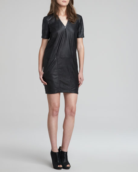 Fitted Washed-Leather Dress