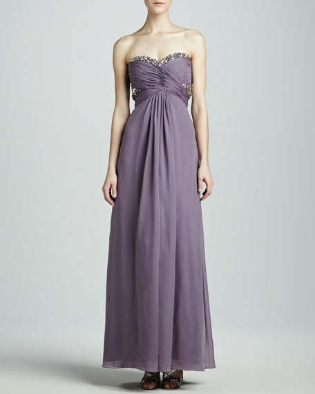 Beaded-Top Strapless Gown