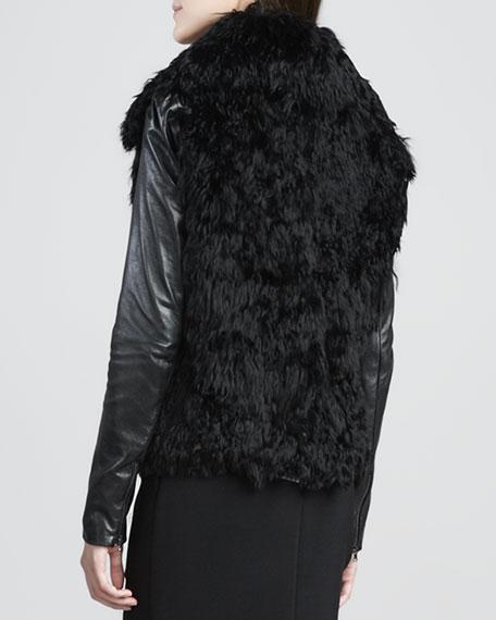Leather-Sleeve Fur Coat
