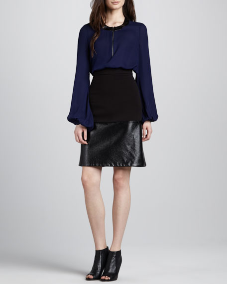 Ponte/Faux-Leather A-Line Skirt