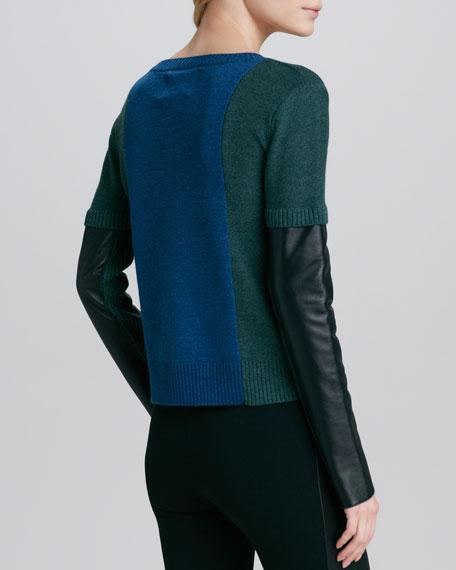 Sabine Leather-Sleeve Sweater, Indigo