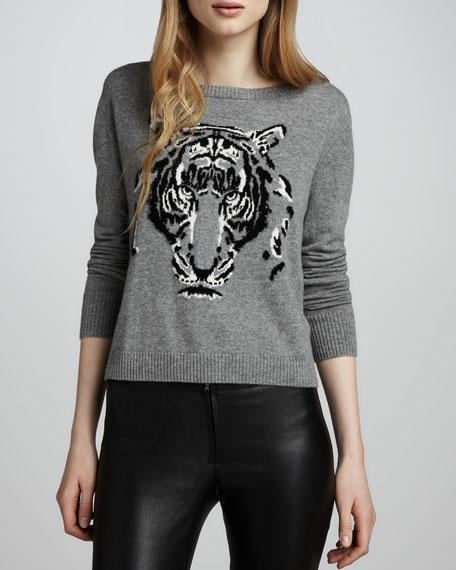 Leopard Intarsia Cashmere Sweater