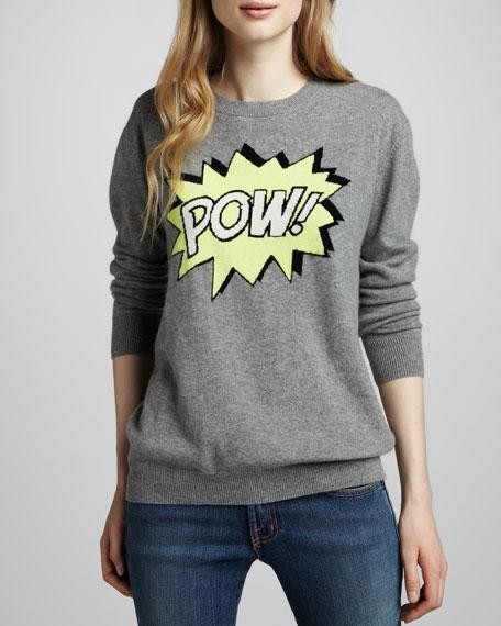 Pow-Intarsia Boyfriend Cashmere Sweater