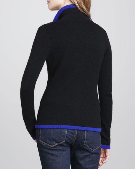Contrast-Trim Cashmere Blazer
