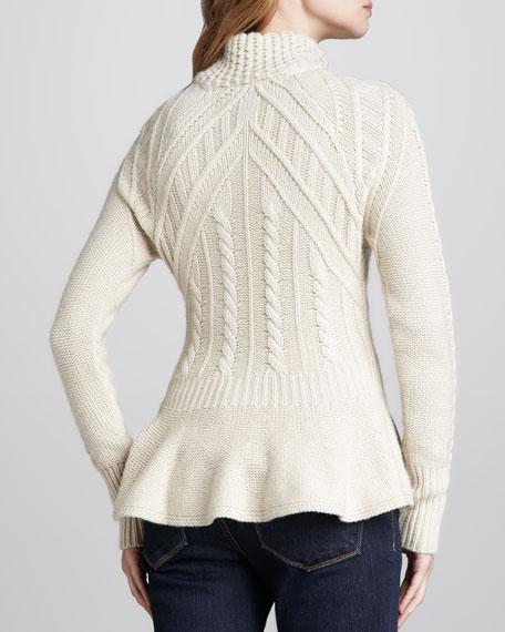 Cable-Knit Peplum Cashmere Jacket