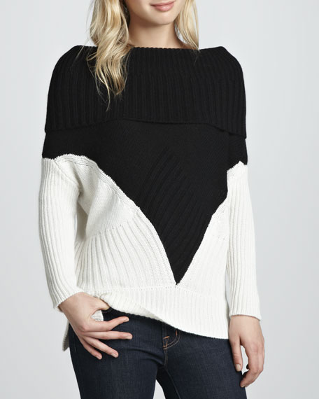 Colorblock Cashmere Off-the-Shoulder Sweater