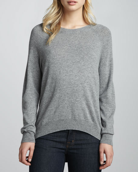 Cashmere Leather-Inset Sweater