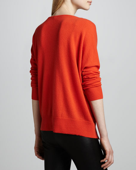 Hi-Lo Cashmere Side-Zip Sweater, Koi