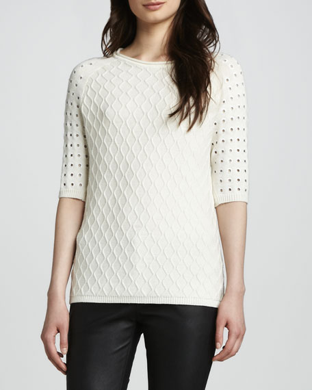 Sweater with Eyelet Sleeves