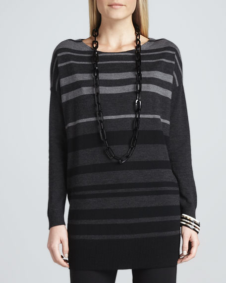 Tonal-Striped Wool Tunic, Petite