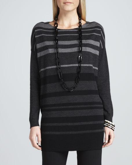Tonal-Striped Wool Tunic, Women's