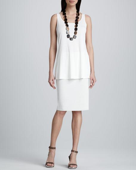Silk-Cotton Straight Skirt, Women's