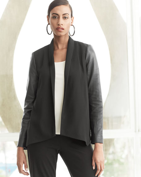 Tropical Suiting Leather-Sleeve Jacket