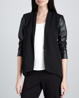 Eileen Fisher Tropical Suiting Leather-Sleeve Jacket, Petite