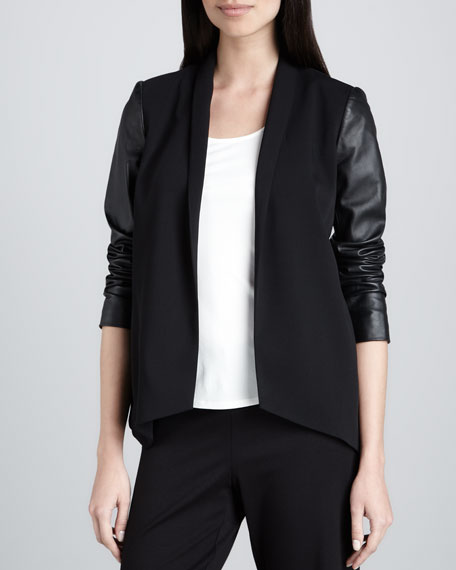 Tropical Suiting Leather-Sleeve Jacket, Petite