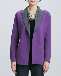Eileen Fisher Contrast-Facing Felted Merino Jacket, Petite