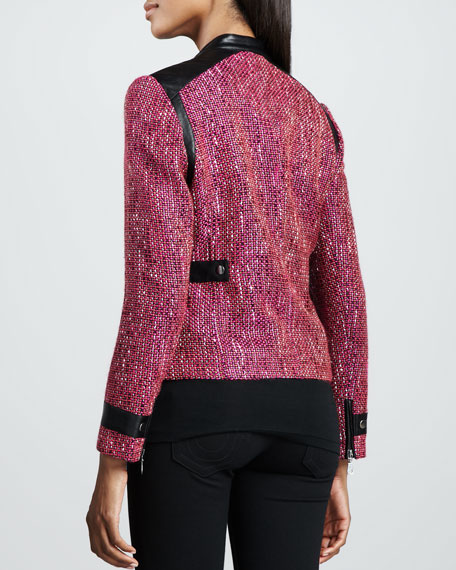 Super Diva Tweed-Textured Jacket
