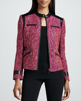 Berek Super Diva Tweed-Textured Jacket, Petite