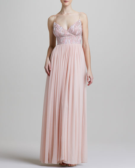 Bead-Bodice Cami Gown