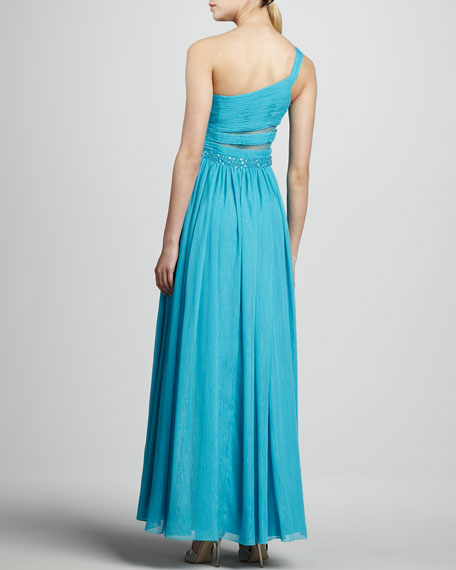 One-Shoulder Beaded-Waist Gown, Bright Blue
