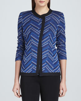 Misook Dani Geometric-Patterned Jacket, Petite
