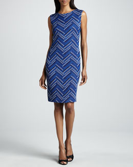 Misook Jodie Sleeveless Zigzag-Front Dress