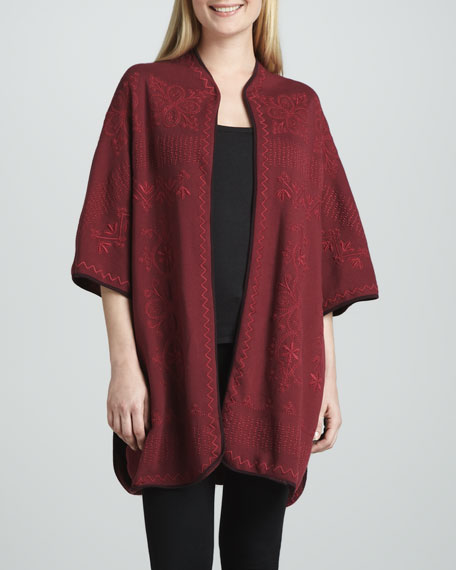 Claudine Embroidered Blanket Poncho, Women's