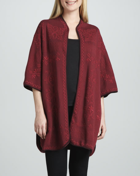 Claudine Embroidered Blanket Poncho