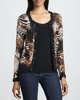 Michael Simon Animal-Print Beaded Cardigan