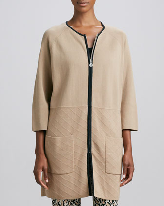 Knit Quilted-Panel Car Coat