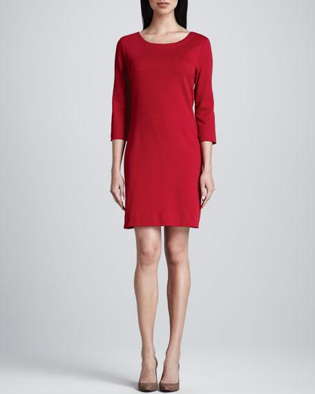 Three-Quarter-Sleeve Ponte Shift Dress, Petite