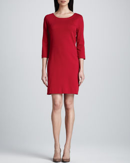 Joan Vass Three-Quarter-Sleeve Ponte Shift Dress, Women's