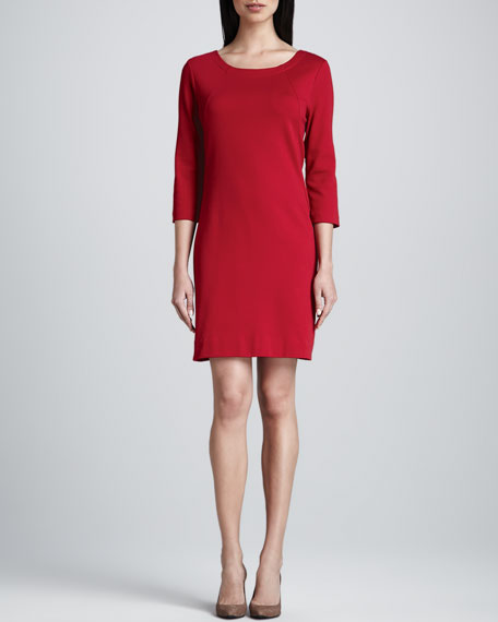 Three-Quarter-Sleeve Ponte Shift Dress