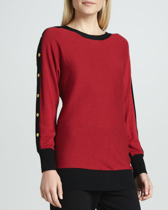 Colorblock Button-Sleeve Sweater