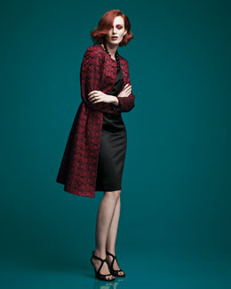 Albert Nipon Lace Jacket & Sateen Sheath Dress Set