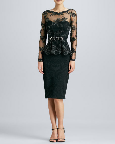 Lace Peplum Brocade Cocktail Dress