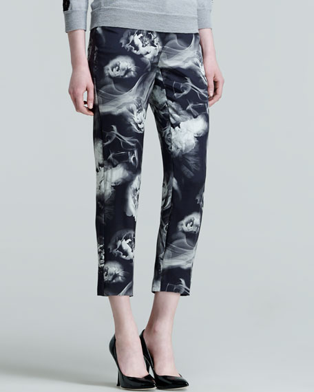 Smoke and Flower-Print Cropped Trousers