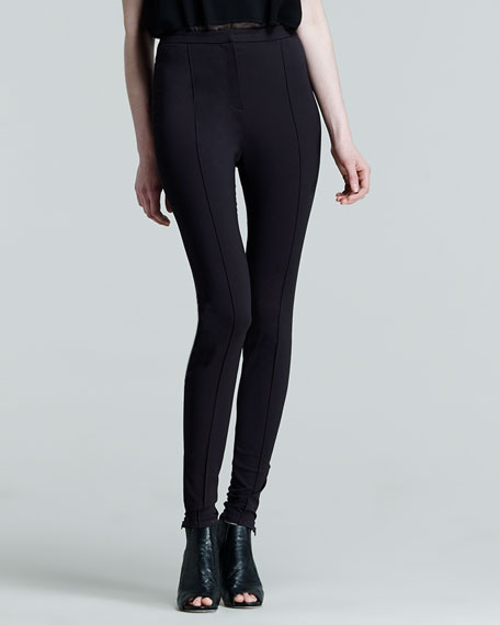 Zip-Leg Stretch Leggings