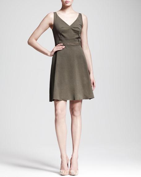 Folded-Waist Sateen Dress
