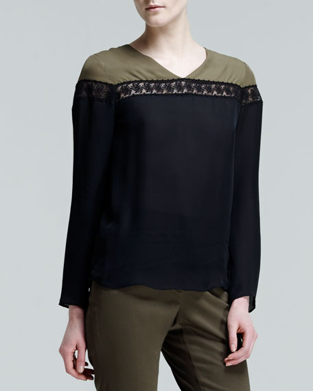 Two-Tone Embroidered-Inset Top