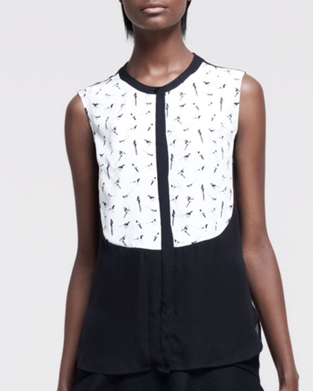 Magpie Printed Sleeveless Silk Blouse