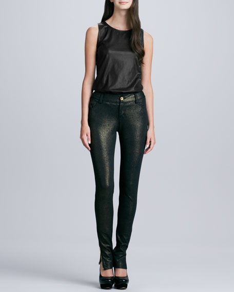 Long Ankle-Zip Denim Skinny Pants